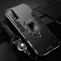 Silikon Hülle Handyhülle und Kunststoff Schutzhülle Hartschalen Tasche mit Magnetisch Fingerring Ständer für Vivo Y20 Schwarz