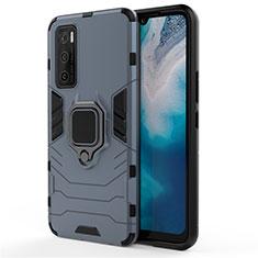 Silikon Hülle Handyhülle und Kunststoff Schutzhülle Hartschalen Tasche mit Magnetisch Fingerring Ständer für Vivo Y70 (2020) Blau