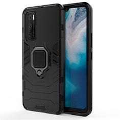 Silikon Hülle Handyhülle und Kunststoff Schutzhülle Hartschalen Tasche mit Magnetisch Fingerring Ständer für Vivo Y70 (2020) Schwarz