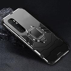 Silikon Hülle Handyhülle und Kunststoff Schutzhülle Hartschalen Tasche mit Magnetisch Fingerring Ständer für Xiaomi Mi Note 10 Lite Schwarz