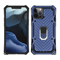 Silikon Hülle Handyhülle und Kunststoff Schutzhülle Hartschalen Tasche mit Magnetisch Fingerring Ständer M01 für Apple iPhone 12 Pro Blau