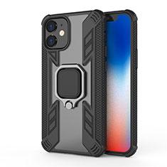 Silikon Hülle Handyhülle und Kunststoff Schutzhülle Hartschalen Tasche mit Magnetisch Fingerring Ständer M01 für Apple iPhone 12 Schwarz