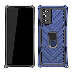 Silikon Hülle Handyhülle und Kunststoff Schutzhülle Hartschalen Tasche mit Magnetisch Fingerring Ständer N03 für Samsung Galaxy Note 20 5G Blau