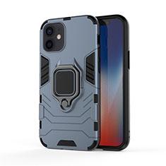 Silikon Hülle Handyhülle und Kunststoff Schutzhülle Hartschalen Tasche mit Magnetisch Fingerring Ständer S01 für Apple iPhone 12 Blau