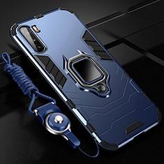 Silikon Hülle Handyhülle und Kunststoff Schutzhülle Hartschalen Tasche mit Magnetisch Fingerring Ständer S01 für Huawei Mate 40 Lite 5G Blau
