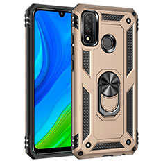 Silikon Hülle Handyhülle und Kunststoff Schutzhülle Hartschalen Tasche mit Magnetisch Fingerring Ständer S01 für Huawei P Smart (2020) Gold