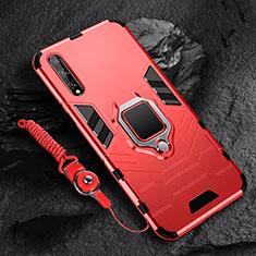 Silikon Hülle Handyhülle und Kunststoff Schutzhülle Hartschalen Tasche mit Magnetisch Fingerring Ständer S01 für Huawei Y8p Rot