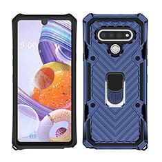 Silikon Hülle Handyhülle und Kunststoff Schutzhülle Hartschalen Tasche mit Magnetisch Fingerring Ständer S01 für LG Stylo 6 Blau