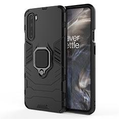 Silikon Hülle Handyhülle und Kunststoff Schutzhülle Hartschalen Tasche mit Magnetisch Fingerring Ständer S01 für OnePlus Nord Schwarz