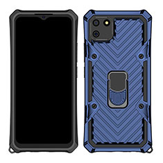Silikon Hülle Handyhülle und Kunststoff Schutzhülle Hartschalen Tasche mit Magnetisch Fingerring Ständer S01 für Realme C11 Blau