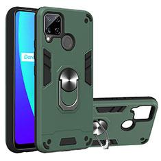Silikon Hülle Handyhülle und Kunststoff Schutzhülle Hartschalen Tasche mit Magnetisch Fingerring Ständer S01 für Realme C15 Nachtgrün