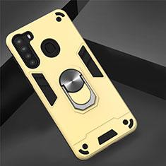 Silikon Hülle Handyhülle und Kunststoff Schutzhülle Hartschalen Tasche mit Magnetisch Fingerring Ständer S01 für Samsung Galaxy A21 Gold