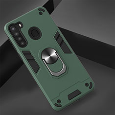 Silikon Hülle Handyhülle und Kunststoff Schutzhülle Hartschalen Tasche mit Magnetisch Fingerring Ständer S01 für Samsung Galaxy A21 Grün