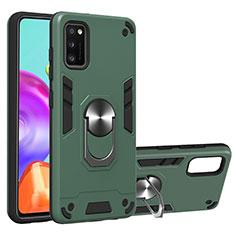 Silikon Hülle Handyhülle und Kunststoff Schutzhülle Hartschalen Tasche mit Magnetisch Fingerring Ständer S01 für Samsung Galaxy A41 Grün