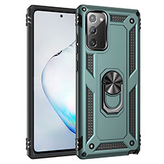 Silikon Hülle Handyhülle und Kunststoff Schutzhülle Hartschalen Tasche mit Magnetisch Fingerring Ständer S01 für Samsung Galaxy Note 20 5G Grün
