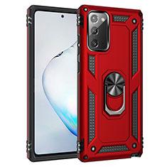 Silikon Hülle Handyhülle und Kunststoff Schutzhülle Hartschalen Tasche mit Magnetisch Fingerring Ständer S01 für Samsung Galaxy Note 20 5G Rot