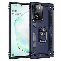 Silikon Hülle Handyhülle und Kunststoff Schutzhülle Hartschalen Tasche mit Magnetisch Fingerring Ständer S01 für Samsung Galaxy Note 20 Ultra 5G Blau