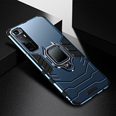 Silikon Hülle Handyhülle und Kunststoff Schutzhülle Hartschalen Tasche mit Magnetisch Fingerring Ständer S01 für Xiaomi Mi 10 Ultra Blau