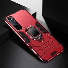 Silikon Hülle Handyhülle und Kunststoff Schutzhülle Hartschalen Tasche mit Magnetisch Fingerring Ständer S01 für Xiaomi Mi 10 Ultra Rot
