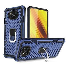 Silikon Hülle Handyhülle und Kunststoff Schutzhülle Hartschalen Tasche mit Magnetisch Fingerring Ständer S01 für Xiaomi Poco X3 NFC Blau