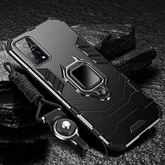 Silikon Hülle Handyhülle und Kunststoff Schutzhülle Hartschalen Tasche mit Magnetisch Fingerring Ständer S01 für Xiaomi Redmi K30S 5G Schwarz