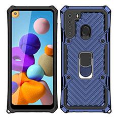 Silikon Hülle Handyhülle und Kunststoff Schutzhülle Hartschalen Tasche mit Magnetisch Fingerring Ständer S02 für Samsung Galaxy A21 Blau