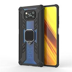 Silikon Hülle Handyhülle und Kunststoff Schutzhülle Hartschalen Tasche mit Magnetisch Fingerring Ständer S02 für Xiaomi Poco X3 NFC Schwarz