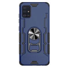 Silikon Hülle Handyhülle und Kunststoff Schutzhülle Hartschalen Tasche mit Magnetisch Fingerring Ständer S03 für Samsung Galaxy A51 5G Blau