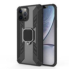 Silikon Hülle Handyhülle und Kunststoff Schutzhülle Hartschalen Tasche mit Magnetisch Fingerring Ständer S04 für Apple iPhone 12 Pro Schwarz