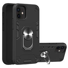Silikon Hülle Handyhülle und Kunststoff Schutzhülle Hartschalen Tasche mit Magnetisch Fingerring Ständer S05 für Apple iPhone 12 Schwarz