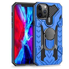 Silikon Hülle Handyhülle und Kunststoff Schutzhülle Hartschalen Tasche mit Magnetisch Fingerring Ständer S07 für Apple iPhone 12 Pro Blau