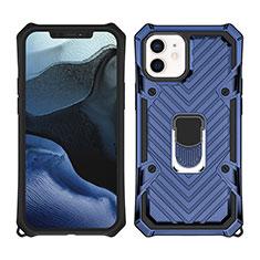 Silikon Hülle Handyhülle und Kunststoff Schutzhülle Hartschalen Tasche mit Magnetisch Ständer A01 für Apple iPhone 12 Mini Blau