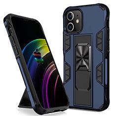 Silikon Hülle Handyhülle und Kunststoff Schutzhülle Hartschalen Tasche mit Magnetisch Ständer für Apple iPhone 12 Mini Blau
