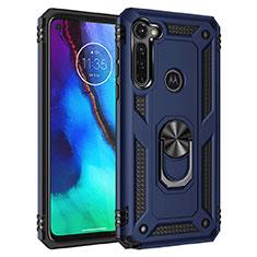 Silikon Hülle Handyhülle und Kunststoff Schutzhülle Hartschalen Tasche mit Magnetisch Ständer für Motorola Moto G Stylus Blau