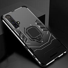 Silikon Hülle Handyhülle und Kunststoff Schutzhülle Hartschalen Tasche mit Magnetisch Ständer für Realme X3 SuperZoom Schwarz