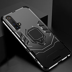 Silikon Hülle Handyhülle und Kunststoff Schutzhülle Hartschalen Tasche mit Magnetisch Ständer für Realme X50 5G Schwarz
