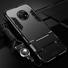 Silikon Hülle Handyhülle und Kunststoff Schutzhülle Hartschalen Tasche mit Ständer A01 für Huawei Enjoy 20 Plus 5G Schwarz