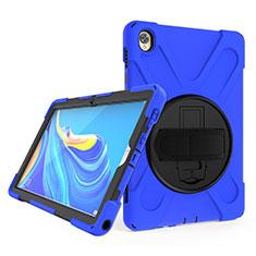 Silikon Hülle Handyhülle und Kunststoff Schutzhülle Hartschalen Tasche mit Ständer A01 für Huawei MatePad 10.8 Blau