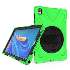 Silikon Hülle Handyhülle und Kunststoff Schutzhülle Hartschalen Tasche mit Ständer A01 für Huawei MatePad 10.8 Grün