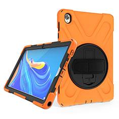 Silikon Hülle Handyhülle und Kunststoff Schutzhülle Hartschalen Tasche mit Ständer A01 für Huawei MatePad 10.8 Orange