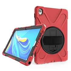 Silikon Hülle Handyhülle und Kunststoff Schutzhülle Hartschalen Tasche mit Ständer A01 für Huawei MatePad 10.8 Rot