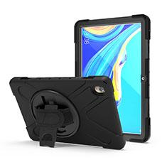 Silikon Hülle Handyhülle und Kunststoff Schutzhülle Hartschalen Tasche mit Ständer A01 für Huawei MediaPad M6 10.8 Schwarz