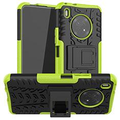 Silikon Hülle Handyhülle und Kunststoff Schutzhülle Hartschalen Tasche mit Ständer A01 für Huawei Y9a Grün