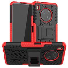 Silikon Hülle Handyhülle und Kunststoff Schutzhülle Hartschalen Tasche mit Ständer A01 für Huawei Y9a Rot