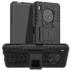 Silikon Hülle Handyhülle und Kunststoff Schutzhülle Hartschalen Tasche mit Ständer A01 für Huawei Y9a Schwarz