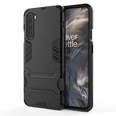 Silikon Hülle Handyhülle und Kunststoff Schutzhülle Hartschalen Tasche mit Ständer A01 für OnePlus Nord Schwarz