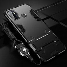 Silikon Hülle Handyhülle und Kunststoff Schutzhülle Hartschalen Tasche mit Ständer A01 für Oppo A53s Schwarz