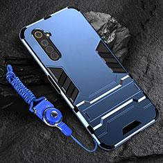 Silikon Hülle Handyhülle und Kunststoff Schutzhülle Hartschalen Tasche mit Ständer A01 für Realme 6 Blau