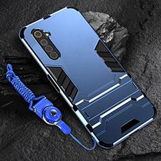 Silikon Hülle Handyhülle und Kunststoff Schutzhülle Hartschalen Tasche mit Ständer A01 für Realme 6s Blau