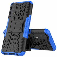Silikon Hülle Handyhülle und Kunststoff Schutzhülle Hartschalen Tasche mit Ständer A01 für Realme 7 Blau